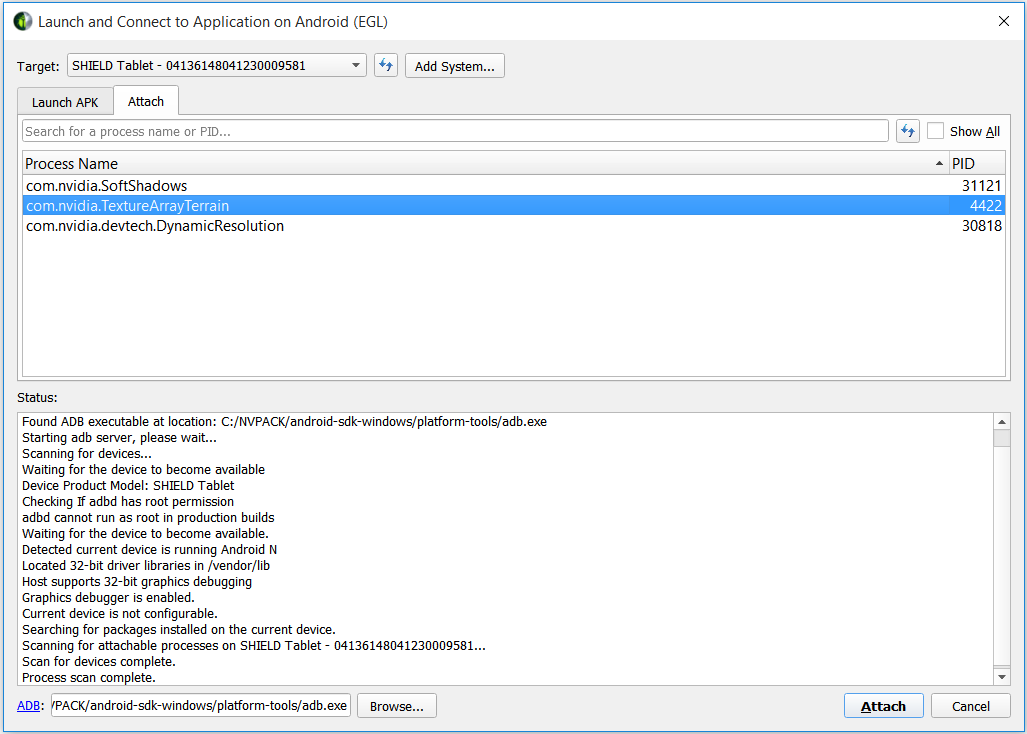 Using the Debugger: Android Target Device