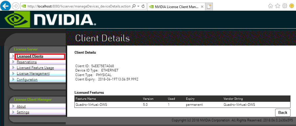 Screen capture showing the Client Details page