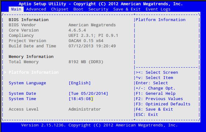 Aptio BIOS screen