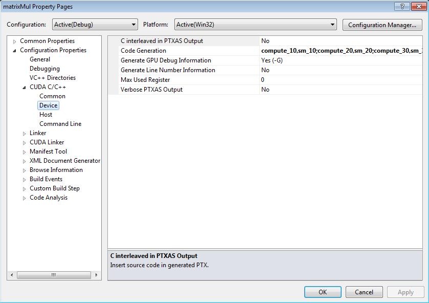 Configure CUDA Project Properties